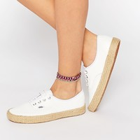 Vans Authentic White Leather Espadrille Trainers