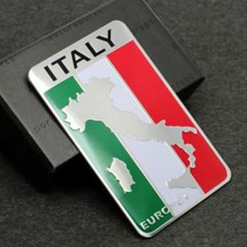 Free Shipping 100pcs Aluminum Auto Car Italy Italian Flag Auto Car Emblem Badge Decal Sticker For All Car Decoration