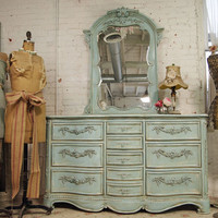 Painted Cottage Aqua Chic Ten Drawer Dresser  W / Mirror DR161