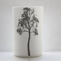 Fine white bone china vase in stoneware with a tall tree illustration - illustrated ceramics.