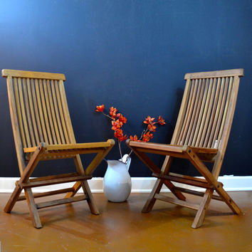 Beautiful Pair of Teak Folding Chairs, Wellesley Manor Teak Chair Set, Two Teak Deck Chairs, Folding Slat Chairs