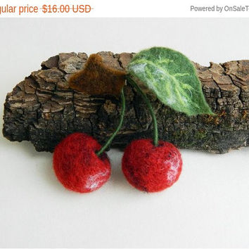 Sale Cherry Needle Felted Brooch Felt Jewelry Wool Unique Gift idea Gift for Her for Mom