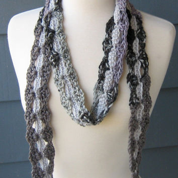 NILA  Skinny Crochet Scarf Fiber Necklace by ArtsyCrochet on Etsy