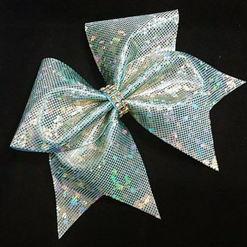 Cheer bows, Mint gold cheer bow, cheerleading bow, cheerleader bow, cheerbow, softball bow,  cheer bow, dance bow, big bows, shattered glass