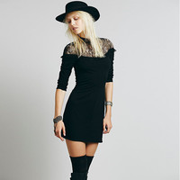 Black Lace Sleeve Bodycon Dress