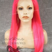 "24 inch Heat Safe Synthetic Straight Texture Lace Front ""Aphrodite"" in Hot Pink"