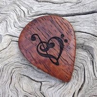 Afzelia Xylay Handmade Premium Wood Guitar Pick - Mandolin Pick - Laser Engraved on Both Sides