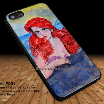 Sad Ariel Watercolor iPhone 6s 6 6s+ 5c 5s Cases Samsung Galaxy s5 s6 Edge+ NOTE 5 4 3 #cartoon #disney #animated #theLittleMermaid DOP245