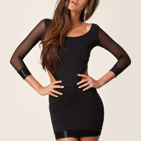 Black Mesh Long Cuff Sleeve Cut-Out Back Bodycon Dress