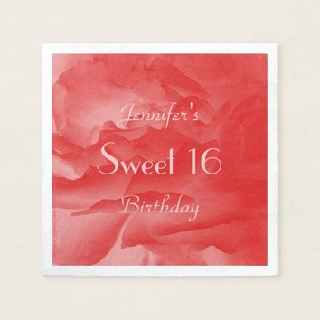 Coral Pink Rose Paper Napkins, Sweet 16 Birthday Napkin