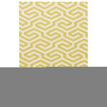 Indoor-outdoor Geometric Pattern Yellow/White Polypropylene Area Rug ( 2x3)