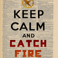 Hunger Games Inspired Keep Calm ORIGINAL Print on an Antique Upcycled Bookpage