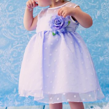Lilac & White Polka Dot Crystal Organza Occasion Dress 0-24M