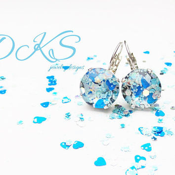 Glass Confetti 12mm Lever backs, Earrings, Frozen Inspired, Hand Painted, Blue, Sparkle, Winter, Christmas, DKSJewelrydesigns, FREE SHIPPING