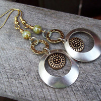 Silver and Gold Metal Dangle Earrings with Sunflower Charms