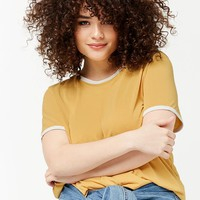 Plus Size Contrast Ringer Tee
