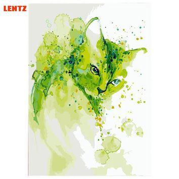 LENTZ Colorful Cute Cat Frameless DIY Digital Oil Painting By Numbers Europe Abstract Canvas Painting For Living Room Wall Art