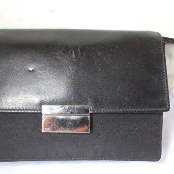 Vintage GUCCI Black Nylon Leather Wristlet Handbag Unisex Clutch Bag
