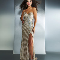 Mac Duggal Prom 2013 - Nude Strapless Chiffon Gown With Sequin & Rhinestone - Unique Vintage - Cocktail, Pinup, Holiday & Prom Dresses.