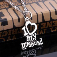 I Love My Wife/Husband Pendant Necklace
