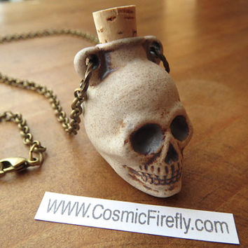 Anatomical Skull Necklace Natural Stoneware Ceramic Skull Bottle Necklace Human Skull Halloween Necklace Halloween Jewelry