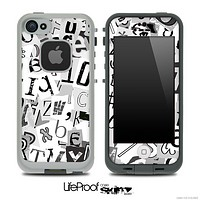 Black & White Letters Skin for the iPhone 5 or 4/4s LifeProof Case