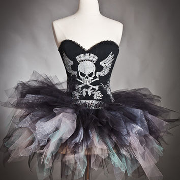 Custom Size Silver, aqua and black Corset tutu Skull Prom dress Halloween Costume small-large