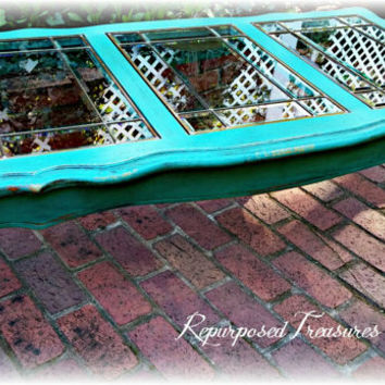 shabby chic solid wood coffee table! Queen anne distressed coffee table, teal coffee table, shabby chic coffee table, rustic coffee table