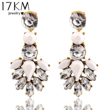 17KM Hot Sale High Quality Round White Crystal Bohemia Acrylic Stud Earrings Irregular Geometric Figure Large Heavy Water Earrings Women