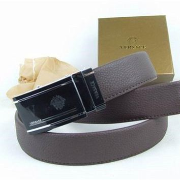 Versace Collection Coffee Leather Men's Versace Belt