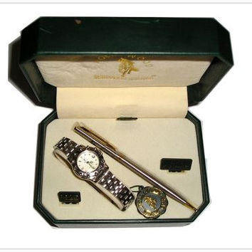 Vintage HOLLYWOOD RIDING Club Ladies Women's Watch and Pen GIFT Box Set - Stainless Steel Watch Japan Movement Gold Plating - New Old Stock