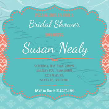 Printable Custom Wedding Shower Invitation. Wedding Shower Custom Invitation. PDF invitation Teal, Aqua, Turquoise, & Coral. Bridal Shower.