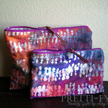 Tie Dye Fabric Cosmetic Bags, Makeup Bags, Boho Pouch, Bohemian Bags, Batik Print Bags, Small Hippie Bags, Multiple Color, Leather Accessory