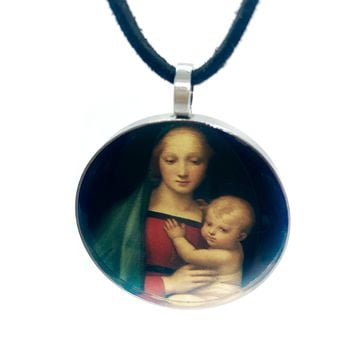 ON SALE - Grand Duke's Madonna & Child Cabochon Pendant