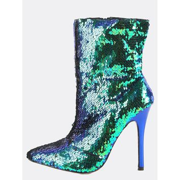 Sequin Pointed Toe Ankle Boots MULTI GREEN