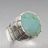 Vintage Mexico Sterling Turquoise Ring Mens Size 10 16.2 Grams