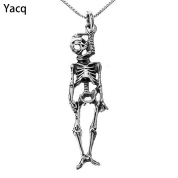 Yacq 925 Sterling Silver Skeleton Necklace Pendant W Chain Halloween Party Jewelry Gifts for Women Girls Her Dropshipping CN13