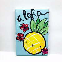 Kawaii Art, Kawaii Pineapple, Kawaii Painting, Kawaii Decor, Pineapple Painting, Aloha Painting, Aloha Art, Aloha Hawaii, Hawaii Art