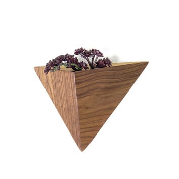 Geometric Planter box, Triangular Indoor Planter, Wall Mounted Black Walnut Planter