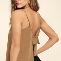 Bow Me Away Light Brown Backless Satin Top