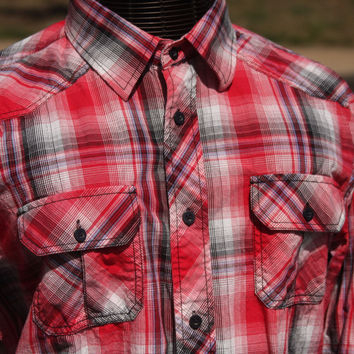 Eighty Eight Red Plaid Western Long Sleeve Button Up Shirt Men's Size XL