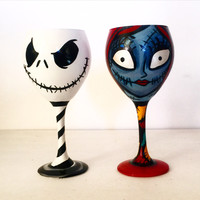 Jack Skellington and Sally Wine glass Set