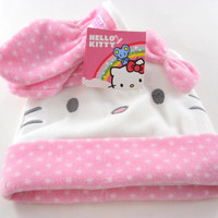 Hello Kitty Hat/Gloves Set White/Pink Fleece Baby/Todder Girl's Hat