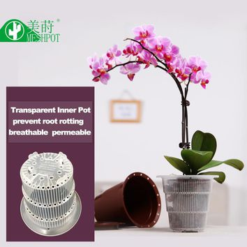 Meshpot Orchid Flower Pot Plastic Double Layer Garden Pot Planter Container Home Decoration Excellent Drainage Inner Dia. 10cm