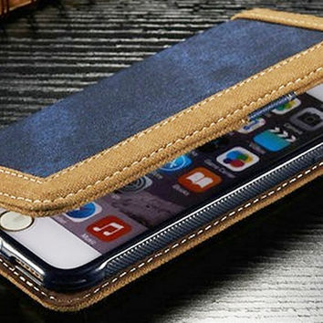 Jean and Leather Wallet Case for iPhone 6/6s