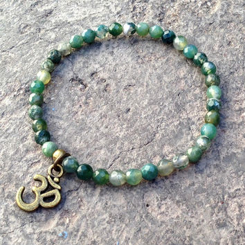 Abundance, fine faceted Moss Agate bracelet with Om charm