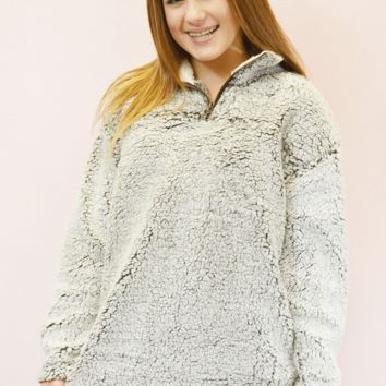 lil' belle sherpa pullover - brown