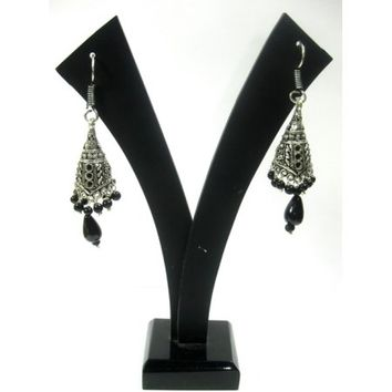 Mogul Dangle Earrings Silver Oxidized Filigree Black Beads Indian Earrings - Walmart.com