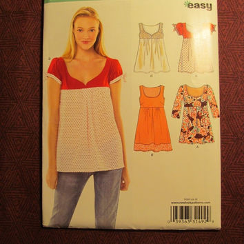 SALE Uncut Simplicity New Look Sewing Pattern, 6784! Small/Medium/Large 6-8-10-12-14-16/Women's/Misses/ Raised Bodice/Flared Shirts/Sleevele