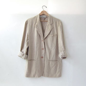 vintage linen jacket. Natural Cotton Blazer. Minimalist.